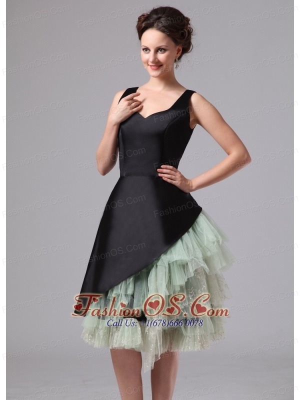 Georgia Black and Green Straps Knee-length Mother Of The Bride Dress
