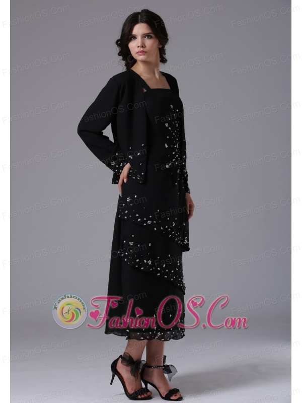 Black Jacket Straps and Beading For 2013 Mother Of The Bride Dress In Calabasas Californi