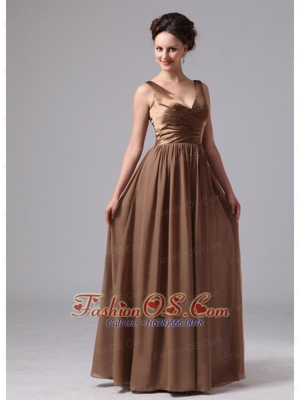 Brown V-neck Mother Of The Bride Dress For Custom Made Satin and Chiffon In Blairsville Georgia