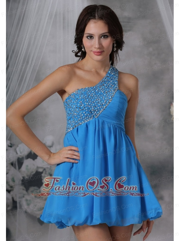 Council Bluffs Iowa Beaded Decorate One Shoulder Mini-length Chiffon Blue For 2013 Prom / Cocktail Dress