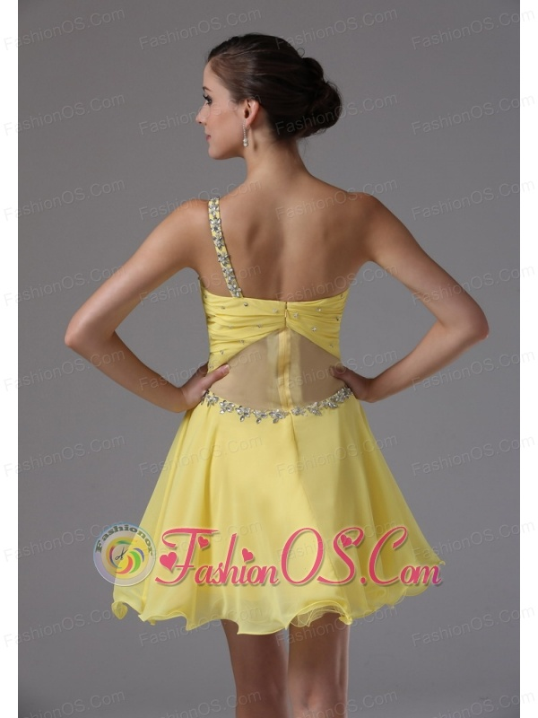 Custom Made One Shoulder and Yellow For Cocktail Dress With Ruched and Beading In Bear Valley California