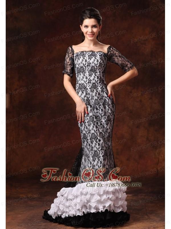 Half Sleeves Black And White Square Lace Brush Designer 2013 Prom ...