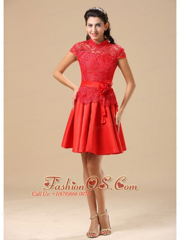 High-neck Red Mother Of The Bride Dress With Sash Lace and Taffeta ...