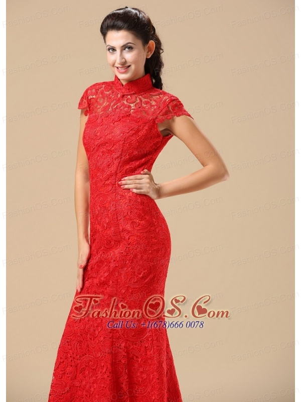 High-neck Short Sleeves and Lace Over Skirt For 2013 Celebrity Prom Dress In Phoenix