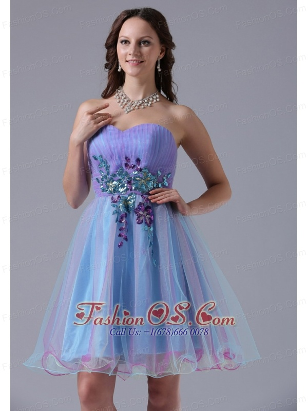 Iowa City Multi-color Sweetheart Prom Cocktail Dress With Appliques and Ruch In 2013