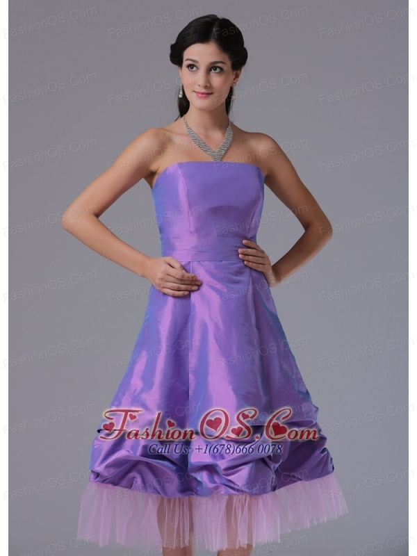 Lavender A-line Strapless Prom Cocktail Dress With Tea-length In Bridgeport Connecticut
