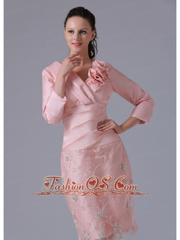 Mdest Baby Pink Long Sleeves Mother Of The Bride Dress With Hand Made Flowers Knee-length