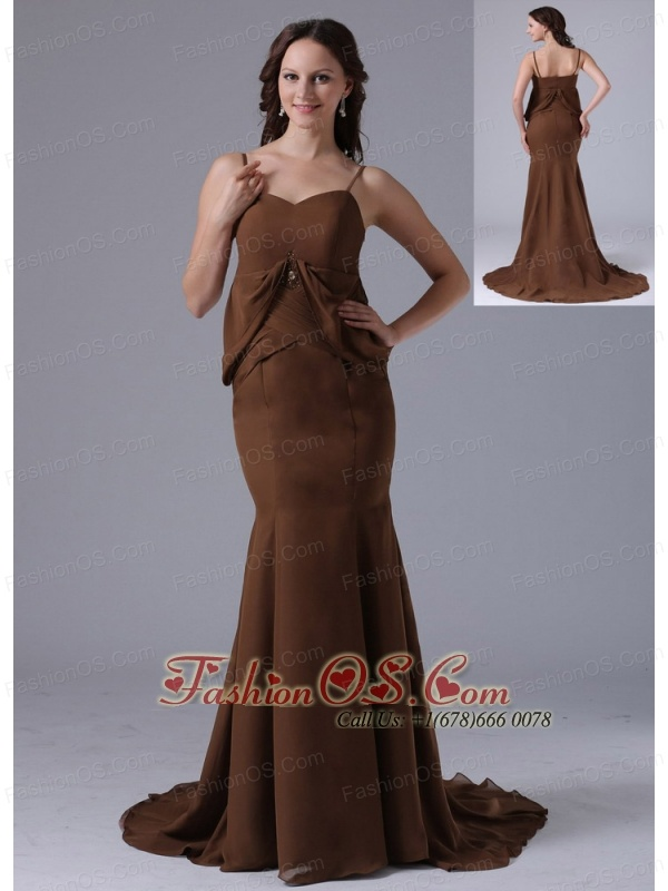 Modest Brown Spagetti Straps Mermaid 2013 Mother Of The Bride Dress With Brush Train In Bethel Connecticut