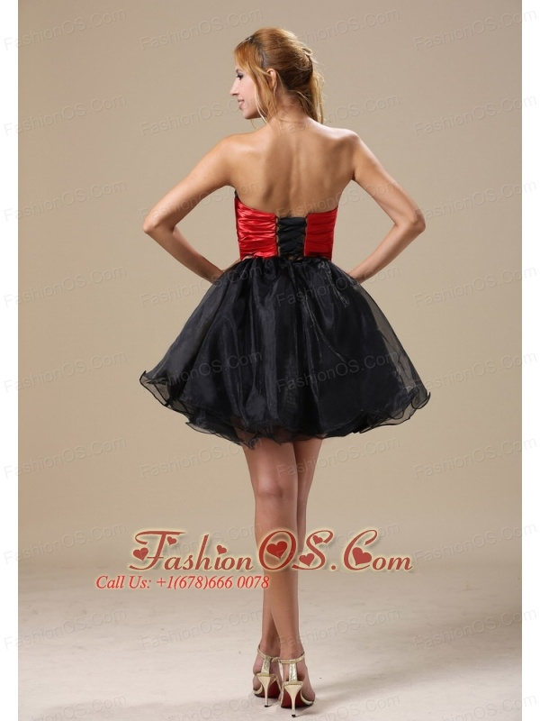 Montana A-line Mini-length Beaded Decorate Waist Black and Red Organza and Taffeta 2013 Prom / Cocktail Dress