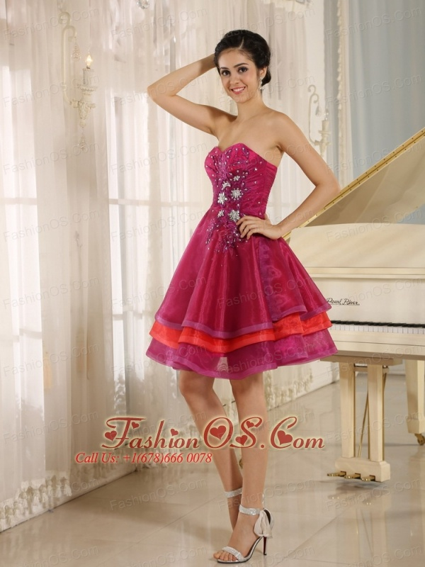 Multi-color Sweetheart Cocktail Dress For Sweet 16 Prom With Organza Beaded Decorate In Aliceville California