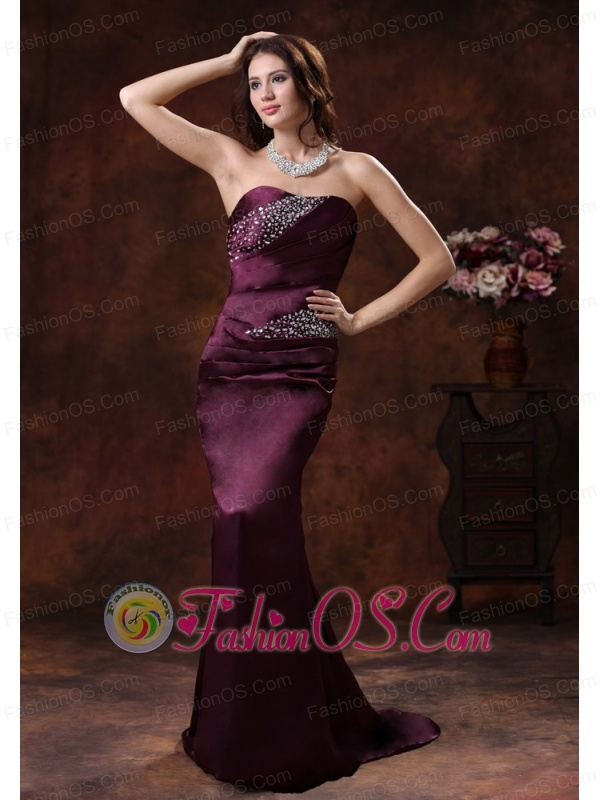Northport Alabama Dark Purple Beaded Decorate On Satin Mermaid Mother Of The Bride Dress With Brush Train