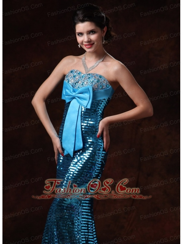 Paillette Over Skirt Bowknot 2013 Celebrity Gowns with Beading Custom Made In Alabama