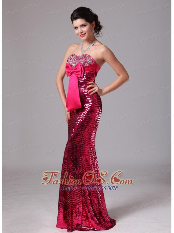 Paillette Over Skirt Red Bowknot Sweetheart Mermaid Stylish Celebrity Prom Gowns For 2013 Custom Made In Normal Alabama