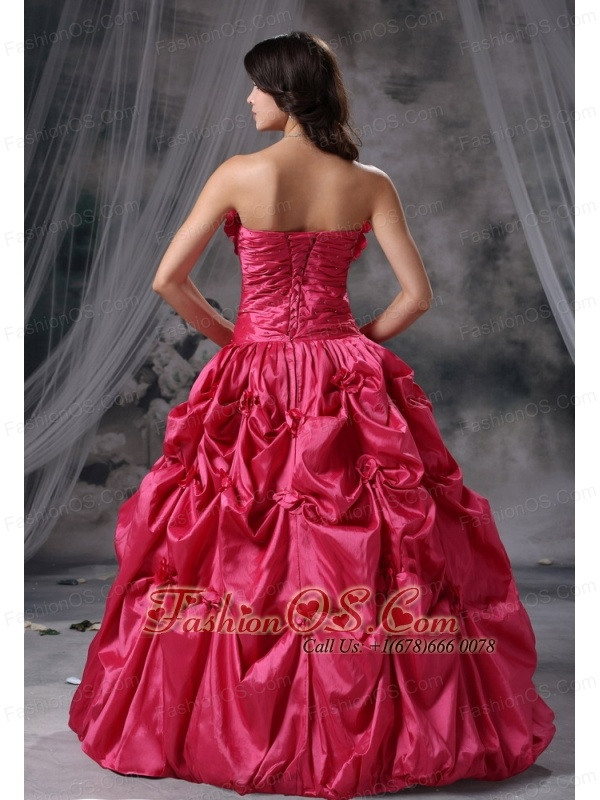 Panora Iowa Hand Made Flowers and Pick-ups Decorate Bodice Ruch Ball Gown Floor-length Coral Red Strapless Military Ball Gowns For 2013