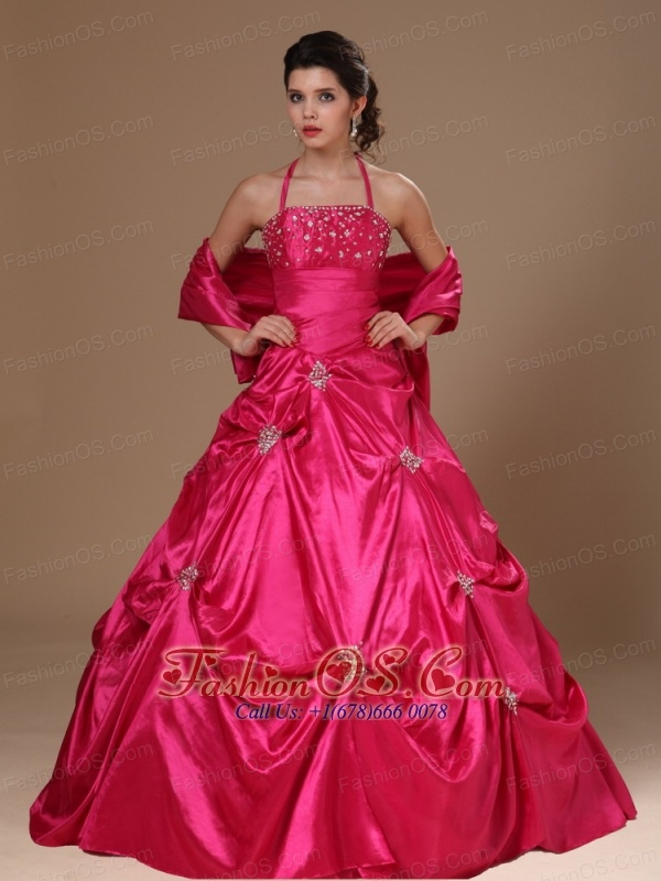 Pick-ups Halter A-line Hot Pink Taffeta Military Ball Gowns For Custom Made In Demopolis Alabama