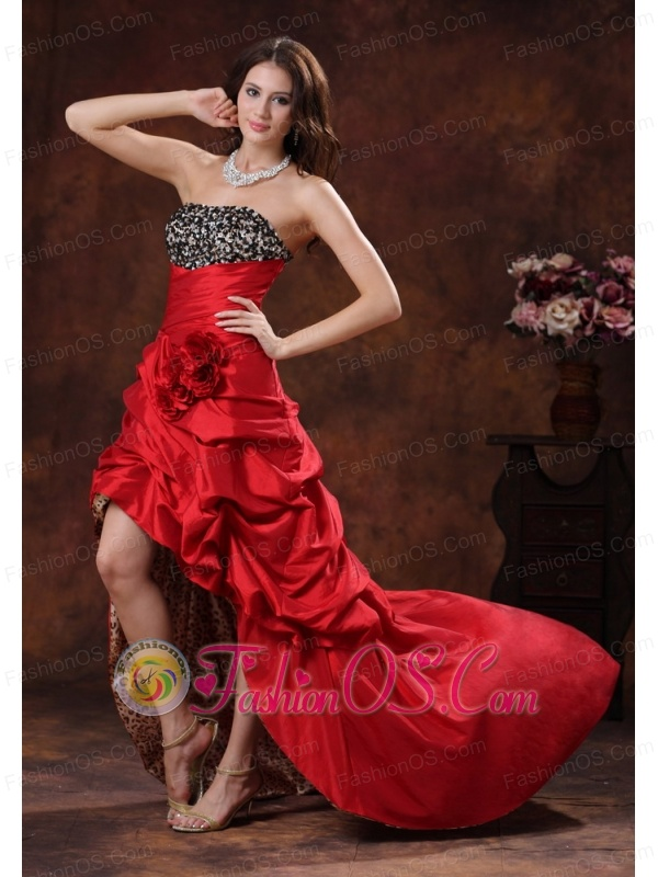 Red Leopard High-low Dama Dresses for Quinceanera Clearances With ...