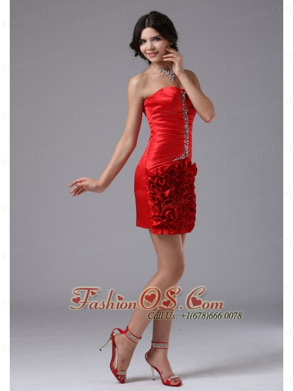Red Ruched Bodice and Beading For 2013 Cocktail Dress In Beverly Hills California Mini-length Taffeta