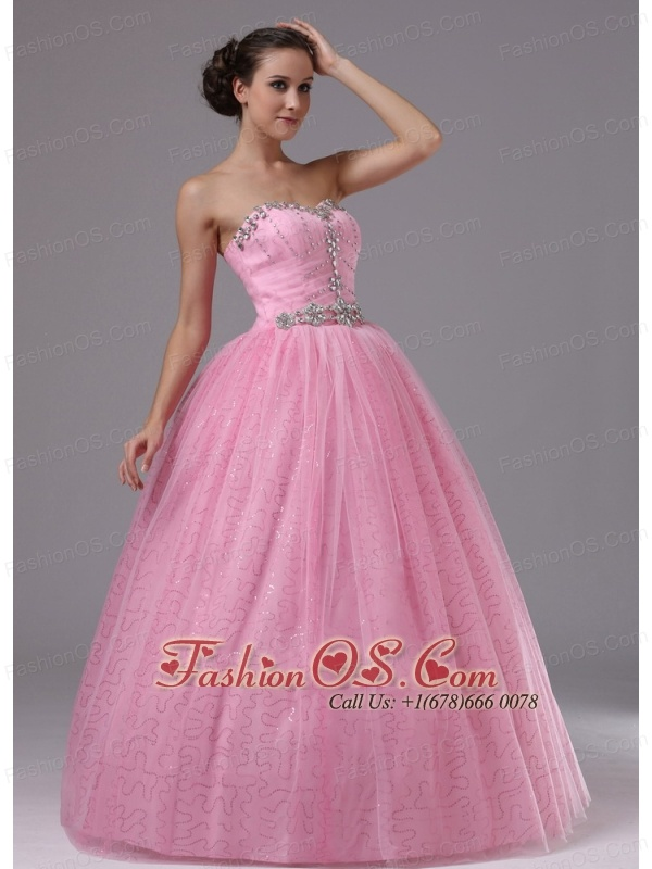 Rose Pink Military Ball Gowns With Sweetheart and Beaded Decorate ...