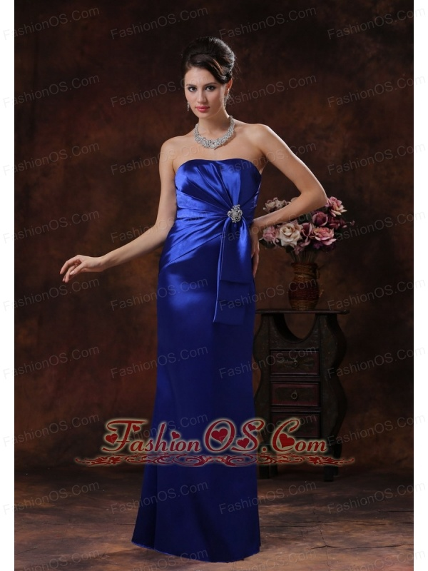 Royal Blue Mermaid Mother Of Bride Dress Clearance With Strapless Beaded Decorate