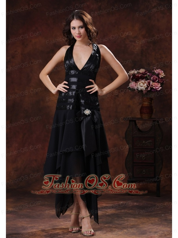 Sexy Black Asymmetrical Prom Celebrity Dress Clearance With Halter In Benson Arizona
