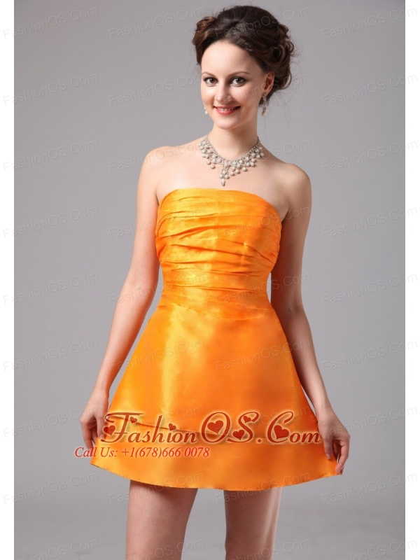 Simple Orange Ruch Satin Mini-length Club Cocktail Dress In Blue Ridge Georgia