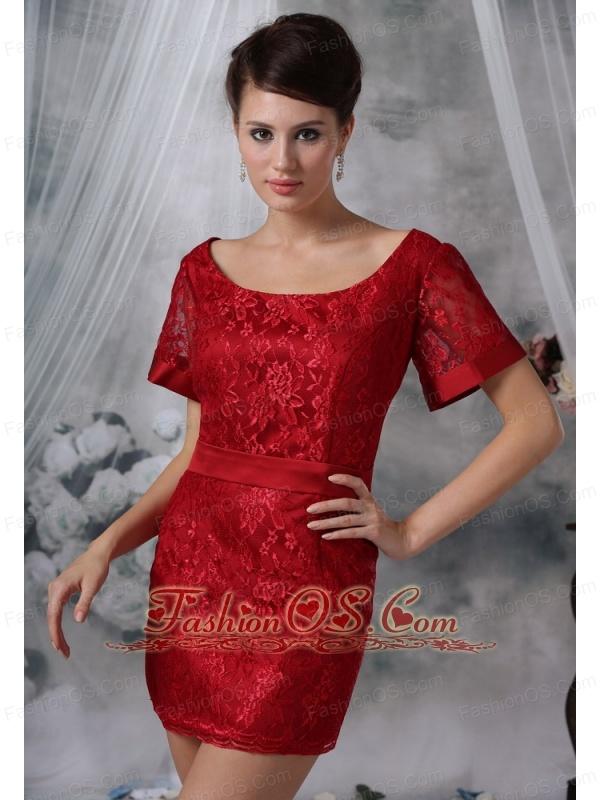 Spirit Lake Iowa Wine Red Lace Decorate Bodice Scoop Neckline Mini-length Short Sleeves Sash Prom / Cocktail Dress