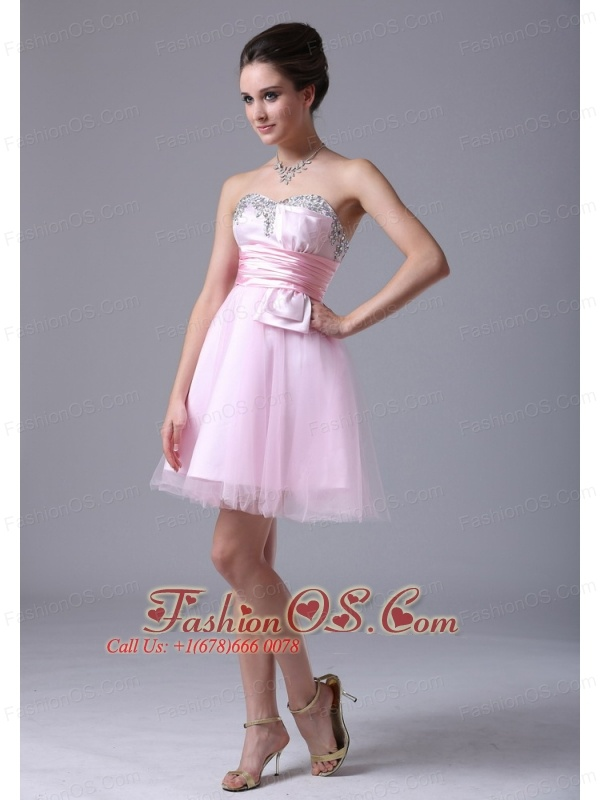 Tulle Sweetheart Floor-length Pink 2013 Cocktail Dress With Beading