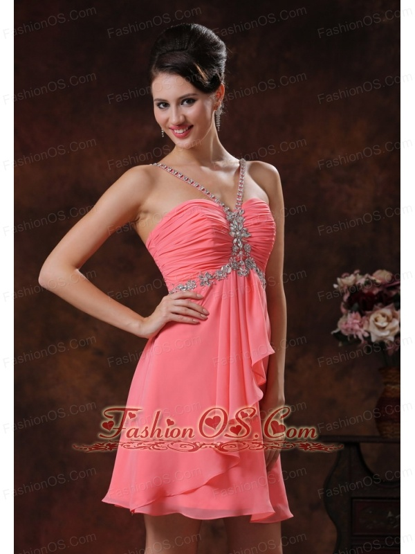 V-neck Zipper-up Watermelon Cocktail Dress With Beaded Decorate In Marana Arizona