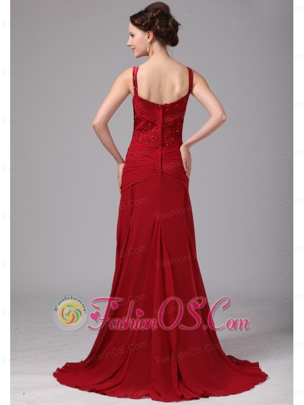 Wine Red Spaghetti Straps Mother Of The Bride Dress With Appliques and Beading Brush Train For Custom Made In Cleveland Georgia