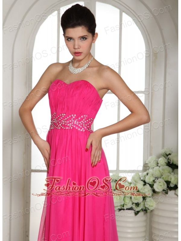 Custom Made Column Hot Pink Sweetheart Prom Celebrity Dress With Ruch and Beading In Nevada