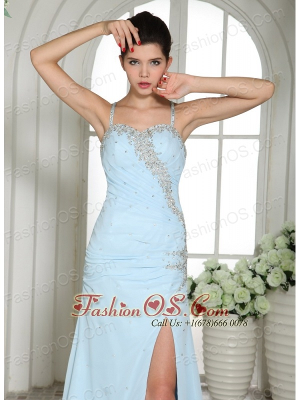 Light Blue High Slit Spaghetti Straps Beaded Over Bodice Prom Dress With Brush Train In Canton