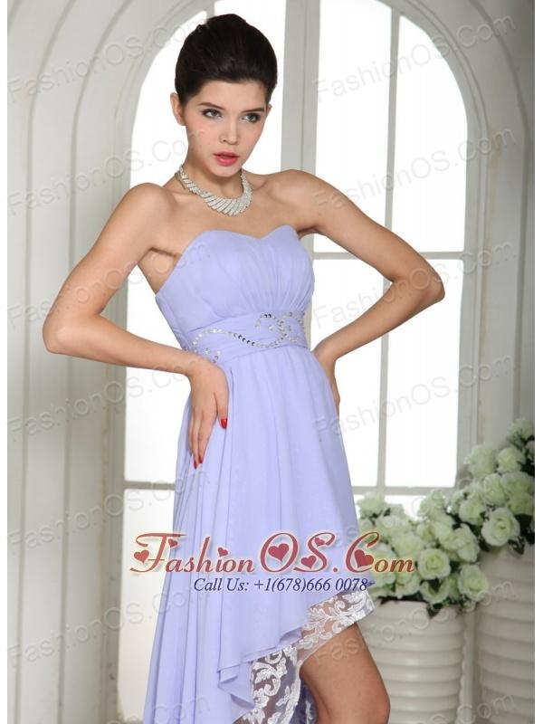 Lilac Chiffon Beaded Decorate Waist High-low Prom Dress For Custom Made In Ronan