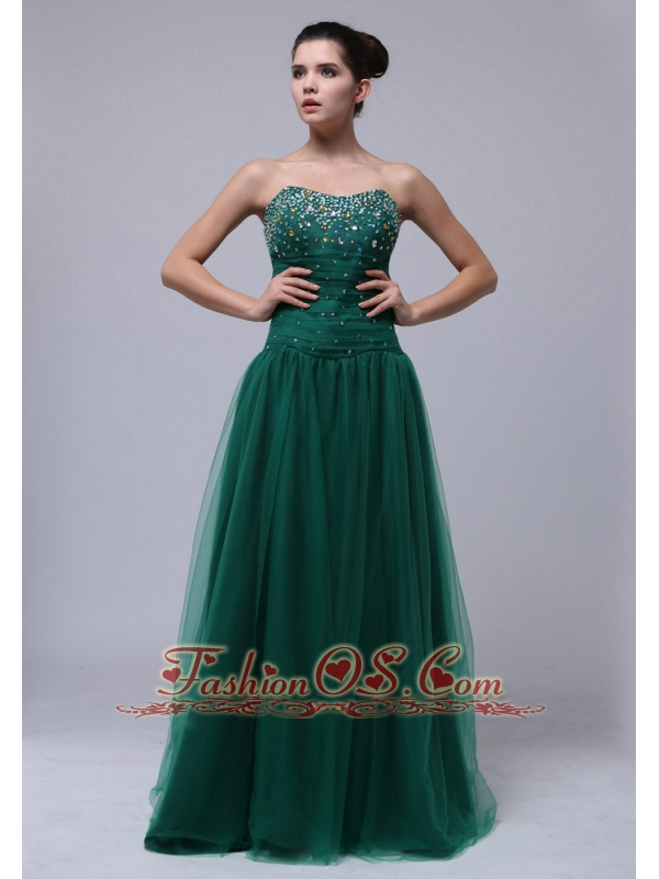 Beaded Decorate Bust For Dark Green Prom Dress In Mississippi