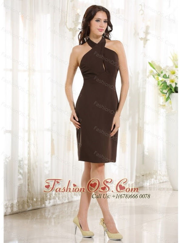 2013 Simple Halter Column Brown Chiffon Knee-length Prom Cocktail Dress