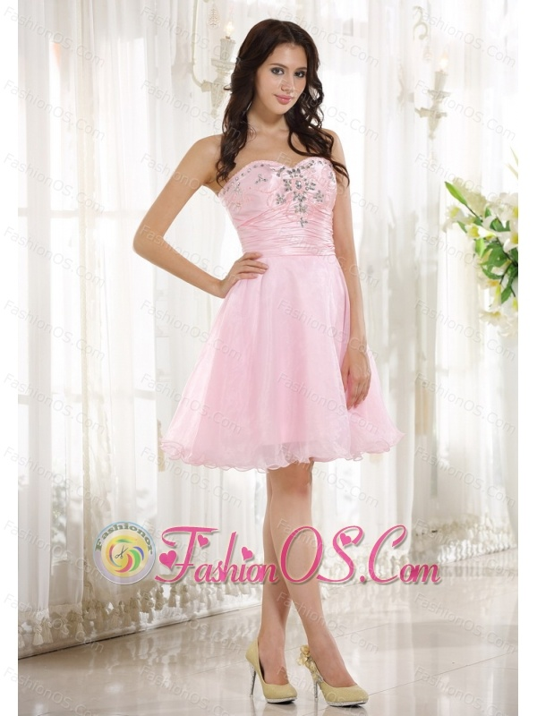 Beaded Decorate Bust Sweetheart Neckline Pink Taffeta and Organza Knee-length 2013 Prom / Homecoming Dress