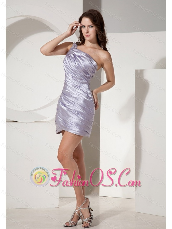 Beaded Decorate Shoulder Lilac Column Prom Dress With Ruch Decorate Satin