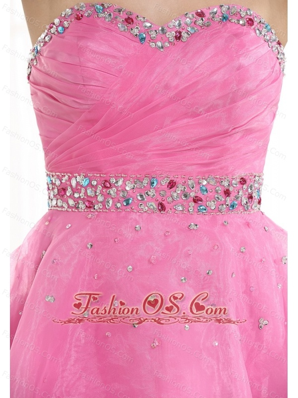 Beaded Decorate Sweetheart Neckline and Waist Pink Organza Knee-length 2013 Prom / Homecoming Dress