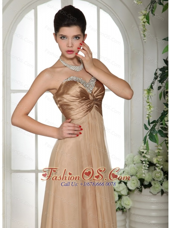 Champagne Chiffon Sweetheart Ruched Decorate Bust and Ruch 2013 Evening Celebrity Dress With Red