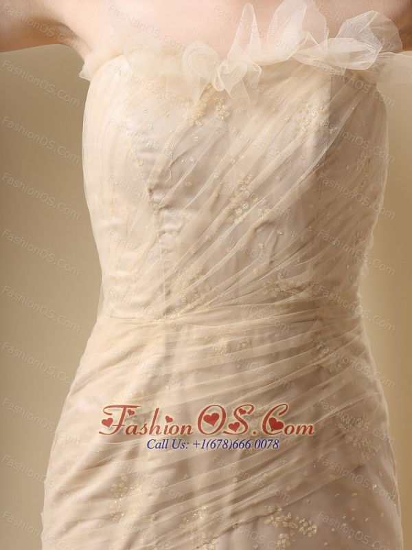 Column Champagne and Ruffled Layers For Prom Dress