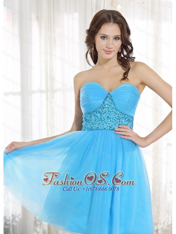 Custom Made Baby Blue Sweetheart Prom Cocktail Dress Beading For Party