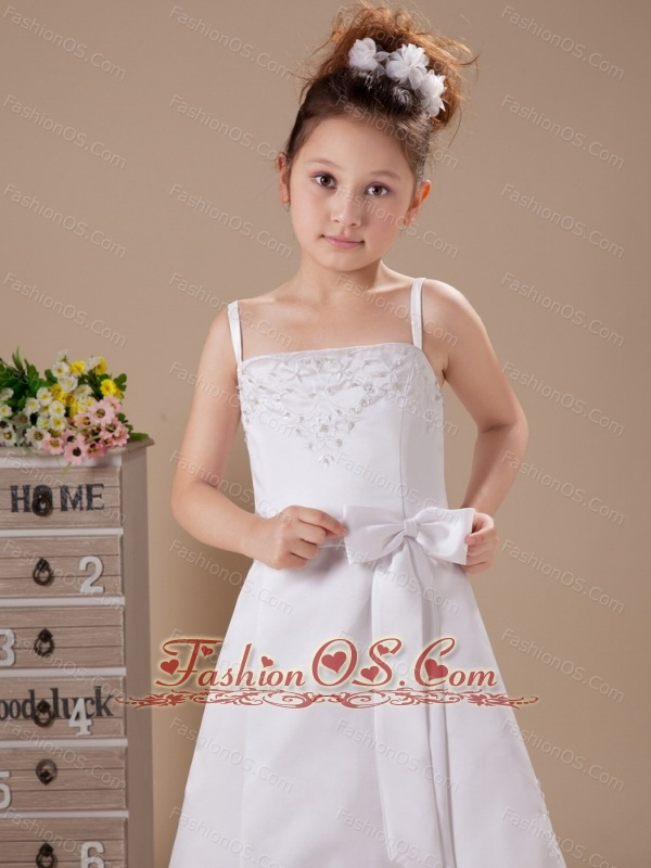 Custom Made Flower Girl Dress Bowknot Straps Embroidery A-Line Wedding Party