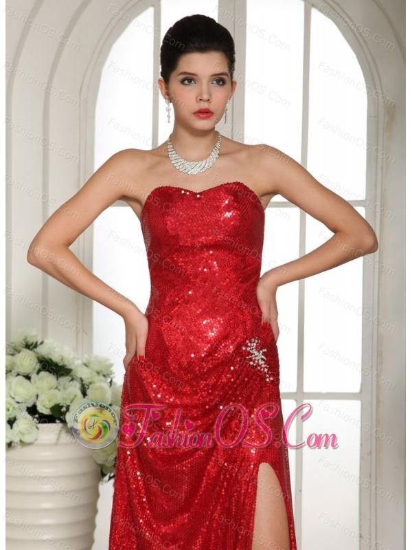 Custom Made Slit Paillette Over Skirt 2013 Celebrity Prom Celebrity Dress With Red