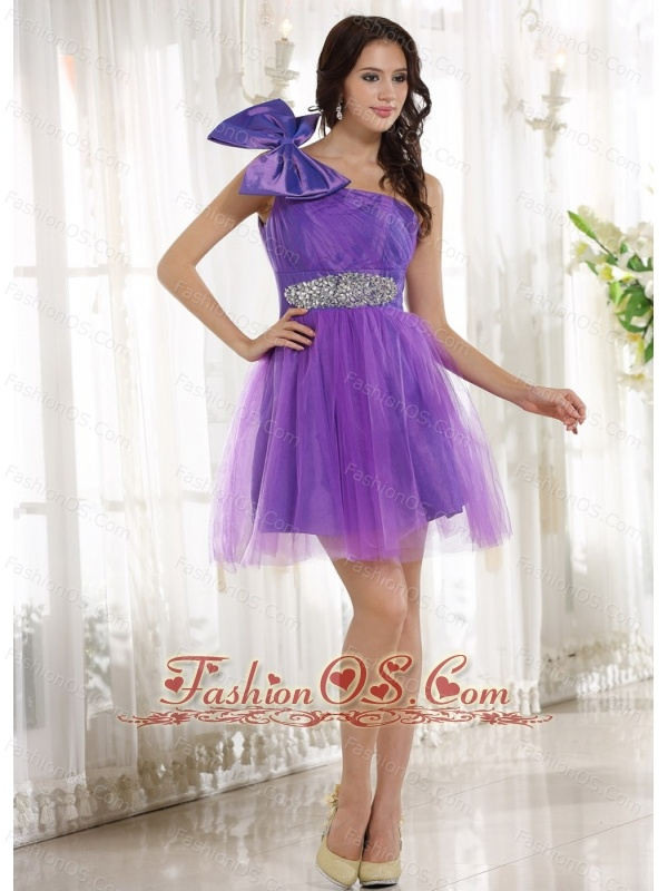 Eggplant Purple One Shoulder Beading and Bow 2013 Prom Cocktail Dress With Tulle