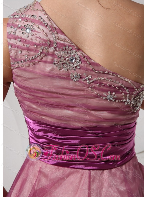 Fuchsia One Shoulder Appliques Knee-length Belt Cocktail Dress For Club