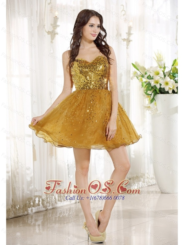 Gold Sequin and Organza A-line Mini-length Sweetheart Neckline Prom / Homecoming Dress For 2013