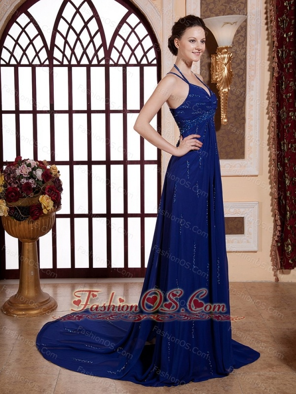 High Slit Beading and Royal Blue For 2013 Custom Made Evening Dress