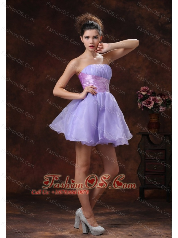 Lace-up Mini-length Lilac Beaded Decorate Prom Dress With Strapless Neckline