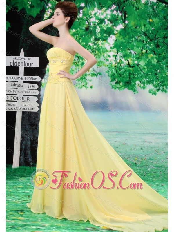 Light Yellow Strapless For Custom Made Prom Dress With Ruched Bodice and Beading