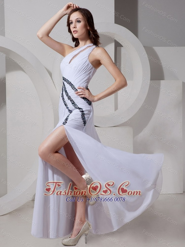 One Shoulder Chiffon Beaded High Slit Stylish Evening Gowns For 2013 Custom Made