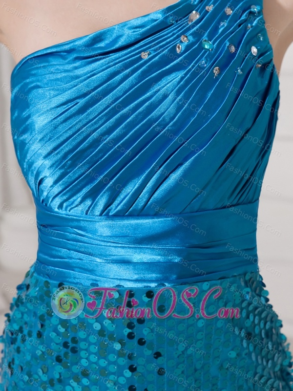 Paillette Over Skirt Beaded Decorate One Shoulder High Slit Bodice Custom Made Evening Gowns